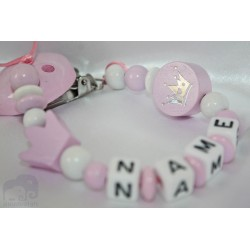 PINK CROWN - 2 * Personalised Wooden Dummy clip / Chain
