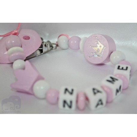 Pink daisy Personalised Wooden Dummy clip / Chain