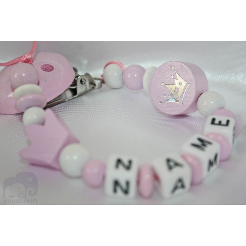 Pink Crown Personalised Wooden Dummy Clip Chain