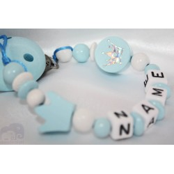 BLUE CROWN - 2 * Personalised Wooden Dummy clip / Chain