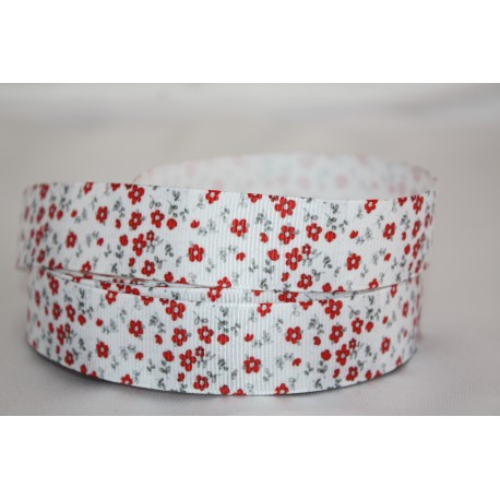 "1 metre 7/8"" Next M2M *TINY Red FLOWERS * Grosgrain Ribbon"