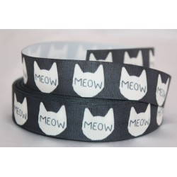 "1 metre 7/8"" Next M2M * BLACK CAT * Grosgrain Ribbon"
