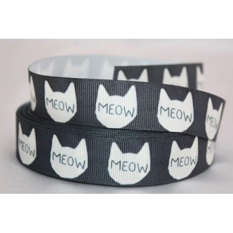 "1 metre 7/8"" Next M2M * BLACK CAT * Grosgrain Ribbon"