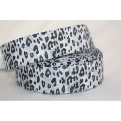 "1 metre 7/8"" Next M2M * BLACK LEOPARD * Grosgrain Ribbon"