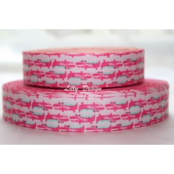 "1 metre 7/8"" Next M2M * Pink Crocodile * Grosgrain Ribbon"