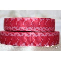 "1 metre 7/8"" Next M2M * Red Flowers * Grosgrain Ribbon"