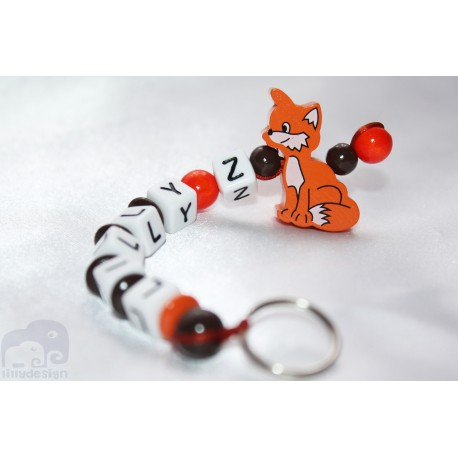 3D Orange fox Personalised Kids Keyrings