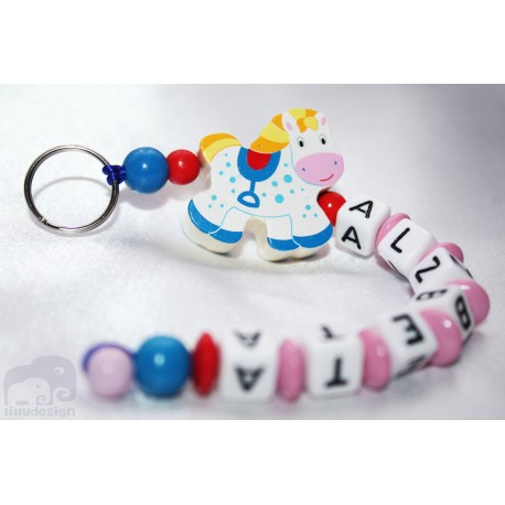 3D Ponny Personalised Kids Keyrings