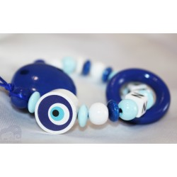 Blue NAZAR EYE Teething Personalised Wooden Dummy clip / Chain