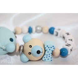 3D Blue TEEDY BEAT with Bow Personalised Wooden Dummy clip / Chain