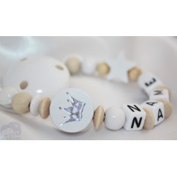 White & Natural GLITTER CROWN Personalised Wooden Dummy clip / Chain