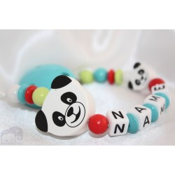 Panda Multi colour Personalised Wooden Dummy clip / Chain