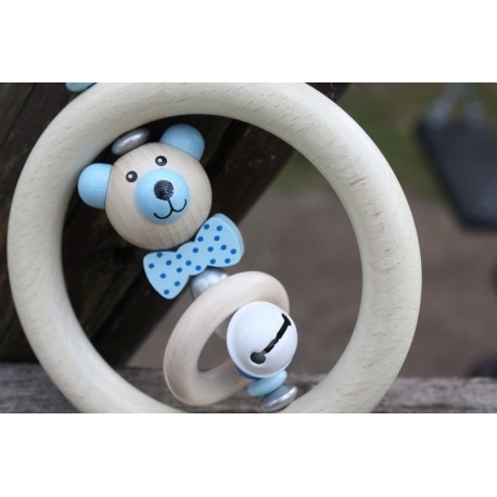 3D Blue Teddy Bear Wooden Natural Baby Rattle