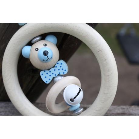 3D Blue Teddy Bear Wooden Natural Baby Rattle
