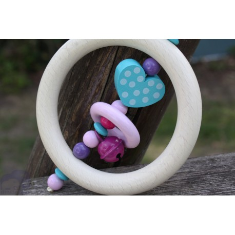 Turquoise Dots Heart Wooden Natural Baby Rattle