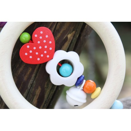 3D White Flower & Heart Wooden Natural Baby Rattle