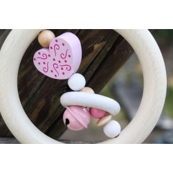 Pink Heart Wooden Natural Baby Rattle