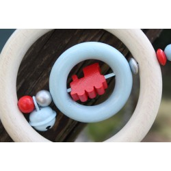 Red Train Wooden Natural Baby Rattle