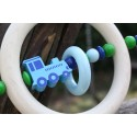 Blue Locomotive Wooden Natural Baby Rattle