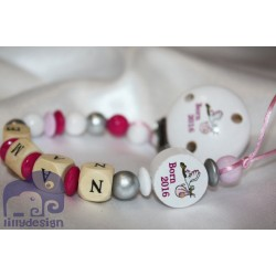 Born in 2016 - Pink Personalised Wooden Dummy Chain