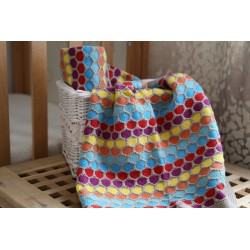 MULTICOLOURED Knitted Pram Baby Blankets / 100% Cotton