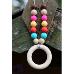 Rainbow bright teething ring Nursing Silicone & Wood Necklace